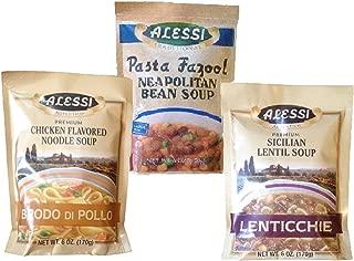Alessi Soup Mix Sampler of 3 packs: Premium Chicken Flavored Noodle Soup, Traditional Pasta Fazool Neapolitan Bean Soup and Premium Sicilian Lentil Soup