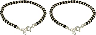 ELOISH Sterling Silver Nazariya with Black Crystals for Baby Boy's and Girl's