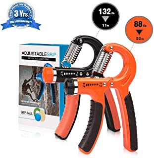 swelldom 2 Pack Different Resistance(22-88 Lbs/30-145 Lbs) Hand Grip Strengthener Adjustable Strength Trainer for Men Forearm Grip Workout Non-Slip Gripper for Athletes Rock Climbers Kids etc