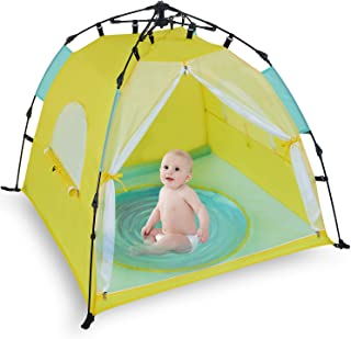 Bend River Automatic Instant Baby Tent with Pool, UPF 50+ Beach Sun Shelter, Portable Mosquito Net/Travel Bed for Infant