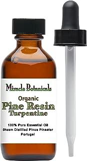 Miracle Botanicals Organic Pine Resin - Turpentine Essential Oil - 100% Pure Pinus Pinaster - Therapeutic Grade - 2oz