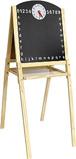 Leomark Tableau en bois double face - XL - Double Face Blanche Magnétique + Ardoise Craie pour enfants, Chevalet avec Acce...