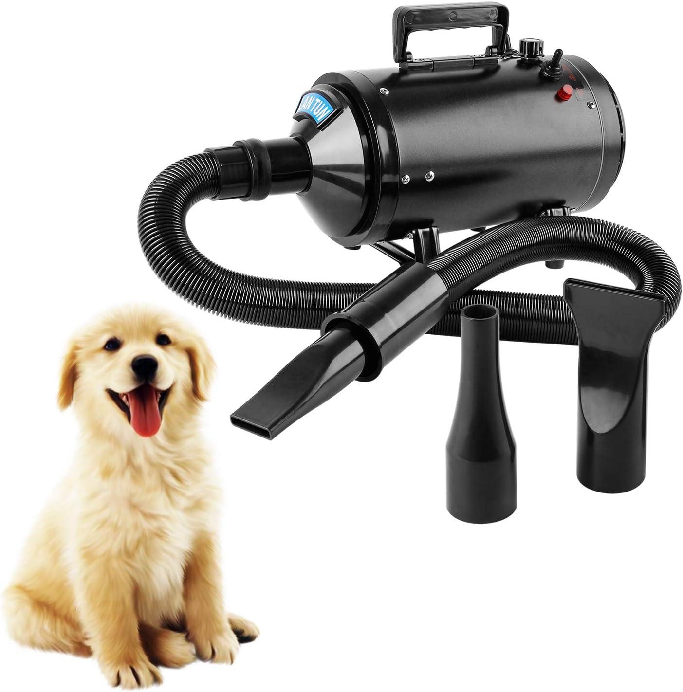 Wilktop Secador de Pelo para Perros, Perros Cuidado Secador Ajustable Velocidad del Viento y Rango de Temperatura para Peluquería Secador de Mascotas Secador de Pelo (2600W)