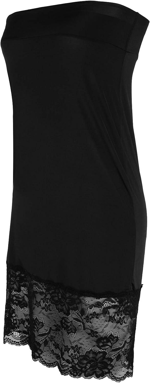 Westkun Damen Unterröcke halber Slip Midi Länge Rock Petticoat Kleid Extender Lace Trim Unterrock Lange Unterwäsche Rock 72cm-81cm Länge Größe XS S M L XL XXL Schwarz