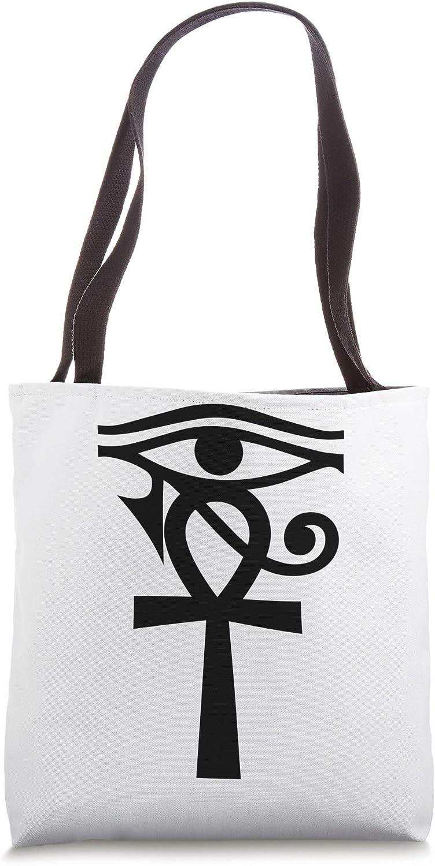 Egyptian Sacred Geometry illuminati Horus Eye Ankh Egypt Tote Bag