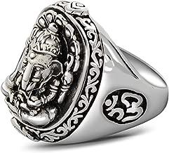 ANAZOZ Men S925 Sterling Sivler Rock Hindu Elephant God Band Ring Lucky Jewelry