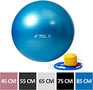 Yoga Exercise Ball by Day 1 Fitness Available in 5 SIZES (45-85cm) with Foot Pump, Resists up to 2200lbs - Extra-Thick, Anti-Burst Stability Ball for Pilates, Desk Chair, Birthing - Heavy-Duty