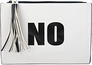 styleBREAKER Clutch mit 'YES' und 'NO' Print, Quasten Anhänger am Reißverschluss, Armschlaufe und Umhängegurt, Damen 02012...