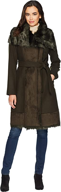 Belted Mixed Media Wool Coat R1231