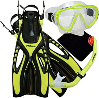 Promate Junior Snorkeling Scuba Diving Mask Dry Snorkel Fins Set for Kids/SCS0040