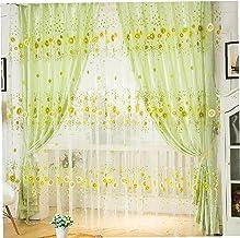 Gordijn Sheer Gaas Tulle Voile Modern Zonnebloem Thicken Bloemen Voor Deur Window Bedroom Balkon Living Room Decoration Green