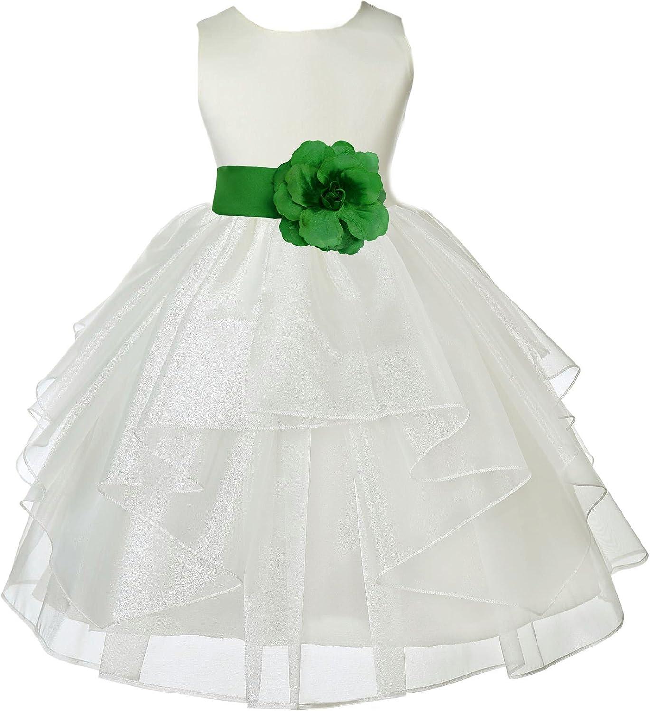 Ivory Satin Shimmering Organza Formal Flower Girl Dress Holiday Dresses 4613S