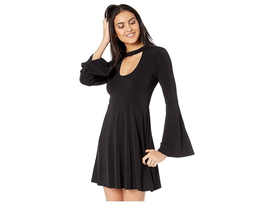 BCBGeneration Mock Neck Cutout Dress (Black) Women