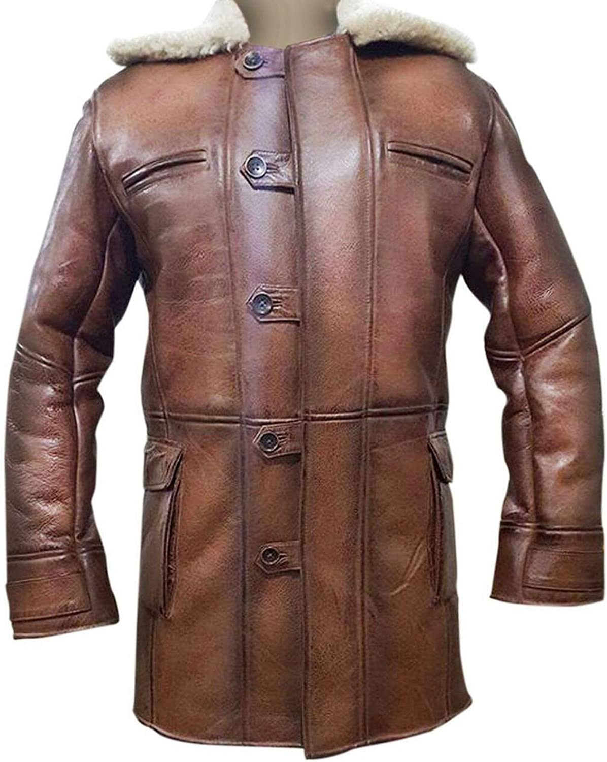CHICAGO-FASHIONS Bane Rises Fur Shearling Hardy Winter Real Leather Distressed Brown Trench Coat