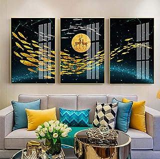 Hanging Painting Modern Round Moon Goldfish Light Luxury Aluminum Alloy Decoration Living Room Feng Shui Auspicious and Painting Micro-spray Plexiglass Painting 3pcs/30x40cm/35x50cm Wall Art Canvas