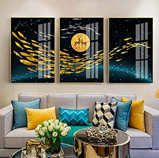 Convenient Modern Round Moon Goldfish Light Luxury Aluminum Alloy Decoration Living Room Feng Shui Auspicious Painting Micro-spray Plexiglass Painting 3pcs/30x40cm/35x50cm Bedroom ( Size : 3040cm )