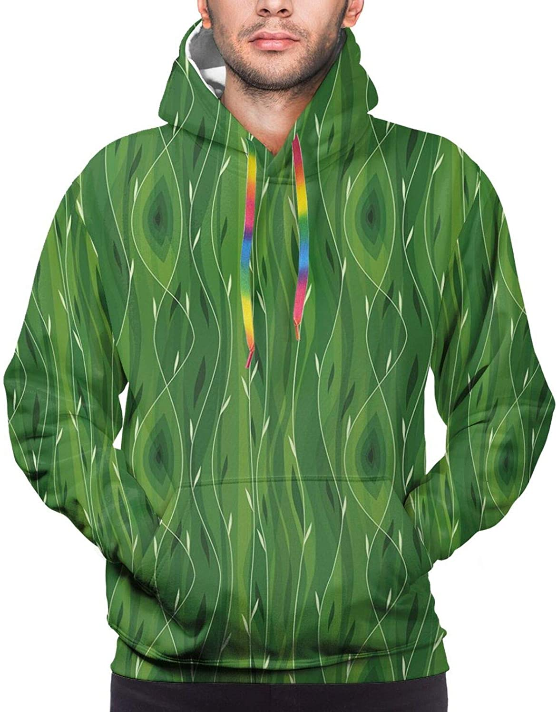 Men's Hoodies Sweatshirts,Retro Spring Freshness Themed Abstract Leaf Design Vertical Wavy Twigs