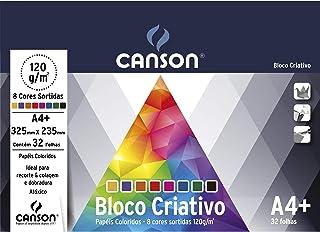 Bloco Criativo Cards A4+ 120g/m², Canson, 66667158, 8 Cores, 32 Folhas