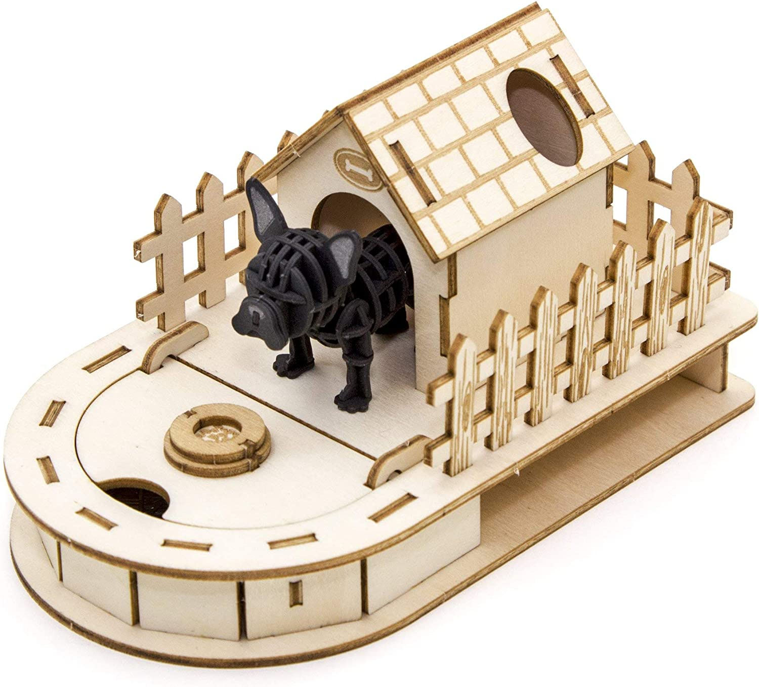 2mm Plywood Wooden 3D Puzzle for Teens and Adults Mechanical Models Kits Dog House Mini Desktop Organizer with Paper Schnauzer Team Green JIGZLE Paper