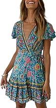 ZESICA Women's Summer Wrap V Neck Bohemian Floral Print Ruffle Swing A Line Beach Mini Dress