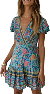 ZESICA Women's Summer Wrap V Neck Bohemian Floral Print Ruffle Swing A Line Beach Mini Dress