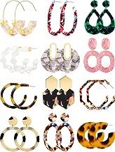 Totally 12 Pairs Acrylic Earrings Bohemian Statement Earrings Mottled Resin Geometric Drop Dangle Ear Jewelry for Women Girls
