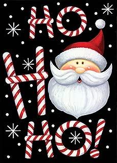 Toland Home Garden Ho Ho Ho Santa 28 x 40 Inch Decorative Winter Christmas Holiday Double Sided House Flag