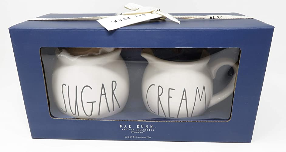 Rae Dunn By Magenta Sugar and Cream Ceramic Large Letter Blue Box Set