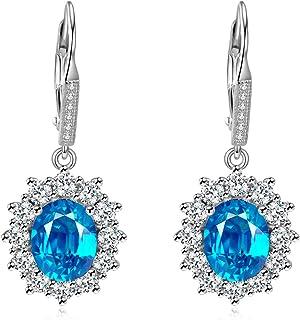 17 Handmade Gemstone Earring 925 Sterling Silver Plated Earring Size 1.7 MK- Blue Topaz /& Chrome Diopside Earring