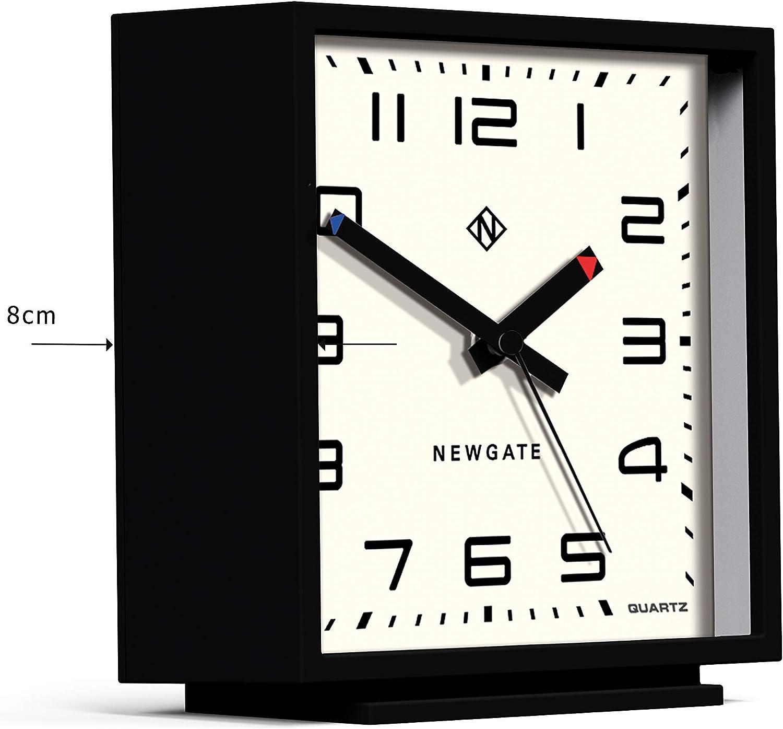 Silent No Tick Square Black Cream NEWGATE/® Amp Mantel Modern Mantel Clock