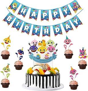 BESLIME 8 Piezas Tiburón Cupcake Toppers, Tiburón Tema Fiesta Suministros Familia Tiburón Baby Shower Cumpleaños Fiesta Decoraciones