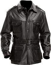 UZ Global Britania Military Styled Vintage Mens Black Trench Coat Blazer Leather Jacket