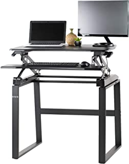 VIVO Black Height Adjustable Compact Sit to Stand Table Workstation, Desk Riser with Legs | Standing Desk and Frame Combo (Desk-KIT-DBS7)