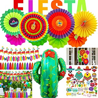 Supla Fiesta Party Decorations Cactus Balloons Hanging Paper Fans Photo Booth Props Mexican Llama Banner Garland Tassel Garland Backdrop String for Bachelorette Kids Taco Cinco De Mayo Supplies