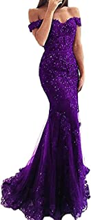 Women's Mermaid Off Shoulder Lace Prom Dress Evening Gown