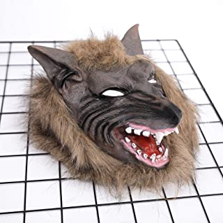 Halloween Animal Mask Werewolf Full Face Mask BPA Free Rubber Masquerade Costume Cosplay Dress up for Adult Men Womens Spooky Halloween Decorations