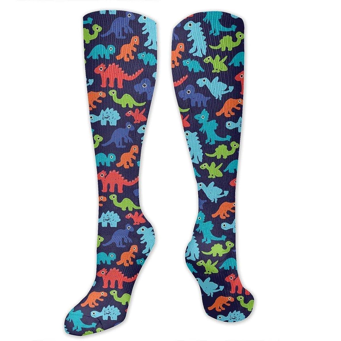 注目すべきリブサスペンション靴下,ストッキング,野生のジョーカー,実際,秋の本質,冬必須,サマーウェア&RBXAA Dark Night Dinosaurs Socks Women's Winter Cotton Long Tube Socks Knee High Graduated Compression Socks