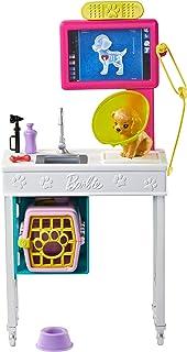 Barbie Oficina de Veterinario, set con perrito y accesorios de veterinaria (Mattel GJL68)