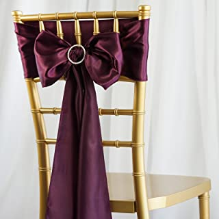 BalsaCircle 50 Eggplant Purple Satin Chair Sashes Bows Ties for Wedding Decorations Party Supplies Events Chair Covers Decor Banquet Reception