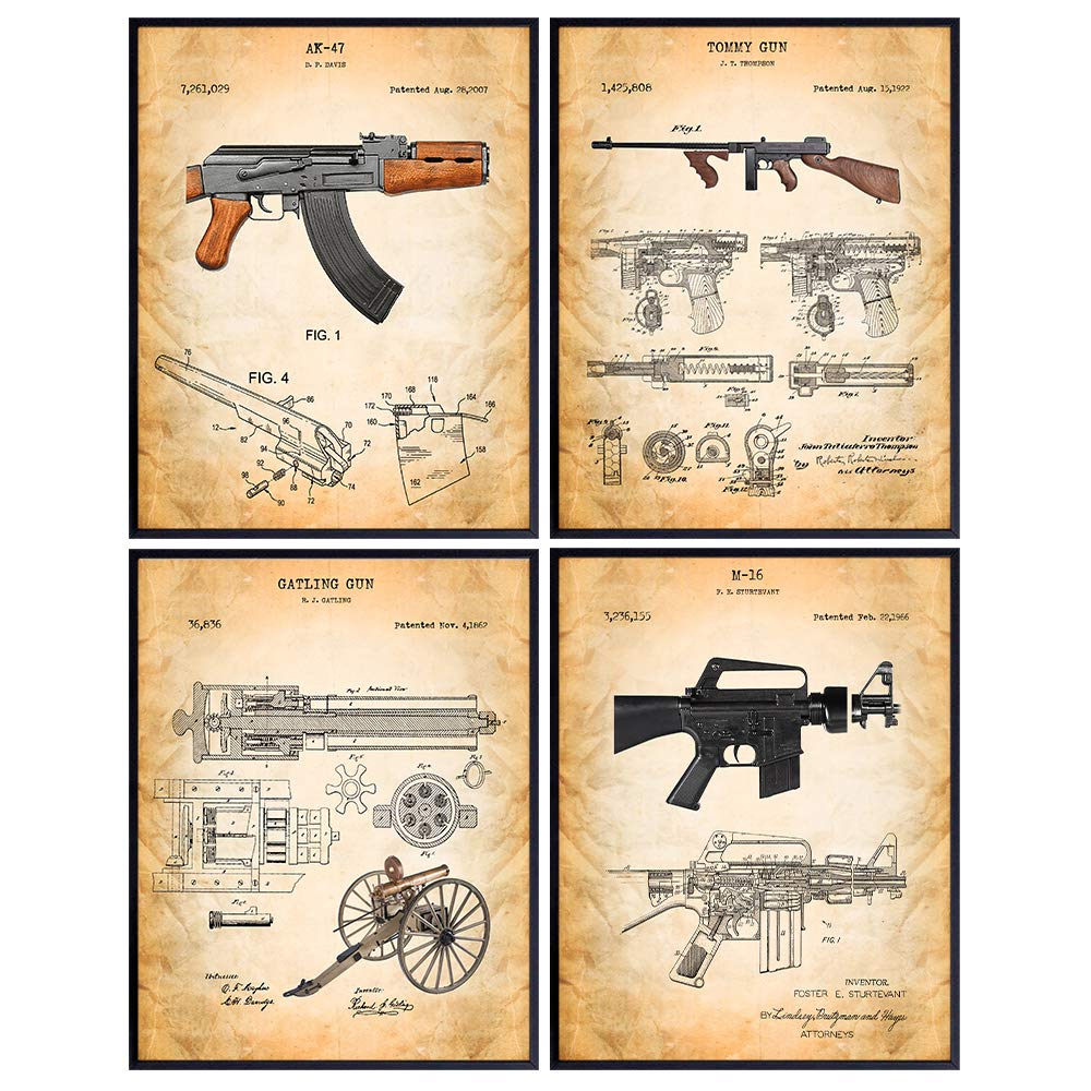 M16 AK47 Guns Patent Print Set [Alternative dealer] Famous - Mail order cheap Weapons Fire Military