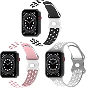 Exclusives Silicone Wristbands Compatible with Apple Watch Bands 38mm 40mm 41mm for Women Men,3 Pack Soft Sports Replacement Smartwatch Strap Accessory for iWatch Series SE 7 6 5 4 3 2 1