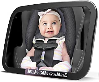 Baby Car Mirror for Back Seat | View Your Child in Rear Facing Car Seat | See Children or Pets in Backseat | X Large | Crash Tested Best Infant Safety Double-Strap Mirror | Wide Angle | Shatterproof