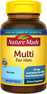 Nature Made Men's Multivitamin Softgels, 60 Count for Daily Nutritional Support