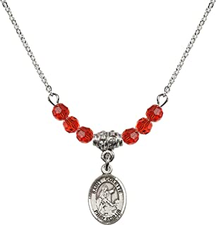 18 Inch Rhodium Plated Necklace w/ 4mm Red July Birth Month Stone Beads and Saint Colette Charm