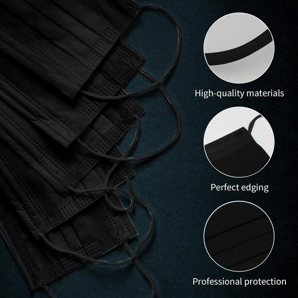 Adult Kids Summer Cooling Dustproof Black Face Macks Disposable Men Women 3 Ply Face Bandanas Breathable Non-Woven with Earloops 100PC LULU99 Face Protection