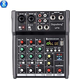 Depusheng UF4 Mezclador de sonido de micrófono digital Bluetooth de 4 canales con consola de mezcla de sonido USB DJ 48V Amplificador para Karaoke KTV Match Party