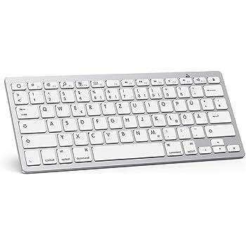OMOTON deutsche Bluetooth Tastatur für iPad 10.2,iPad 2018/2017,iPad 8/7/6/5/4/3/2,iPad Air 4/3/2/1,iPad Pro 10.5,iPad Pro 12.9,iPad Mini Serie und iPhone Handy,QWERTZ Layout,Kompaktes Design