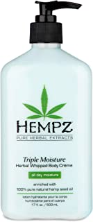 Hempz Natural Triple Moisture Herbal Whipped Body Cream with 100% Pure Hemp Seed Oil for 24-Hour Hydration - Moisturizing ...