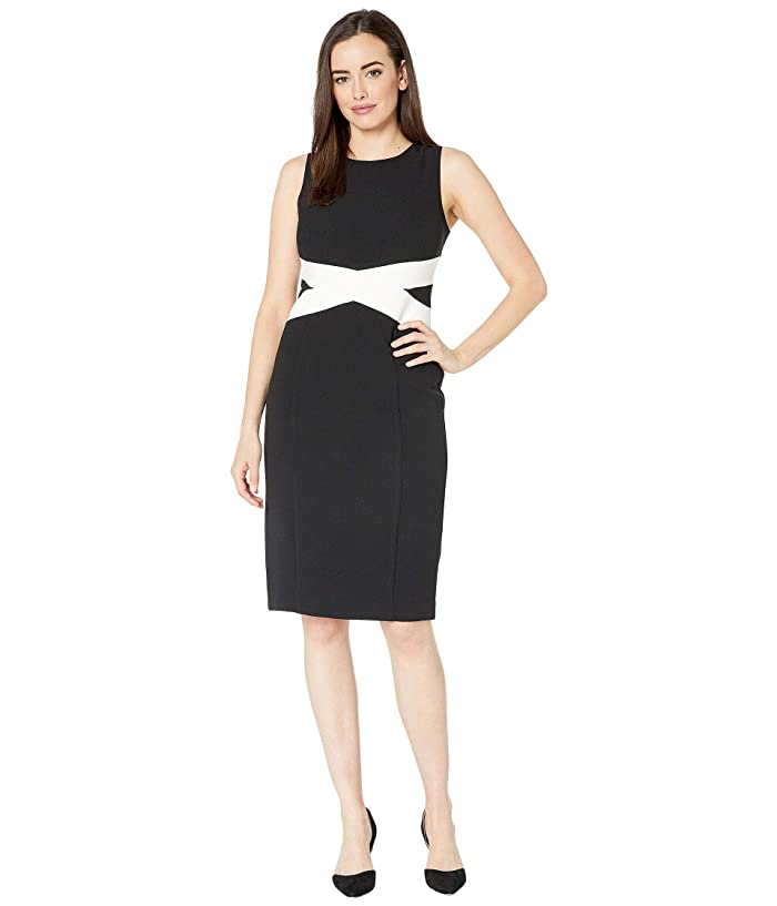 Vince Camuto Kors Crepe Bodycon Dress with Contrast Paneling (Black/Ivory) Women