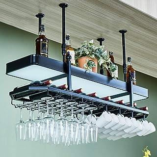 JFFFFWI Support à Verre à vin à l'envers Casier à vin Style Simple Fer Suspendu Support à Verre à vin Plafond de décoratio...